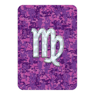 Virgo Sign on Pink Fuchsia Digital Camouflage Card