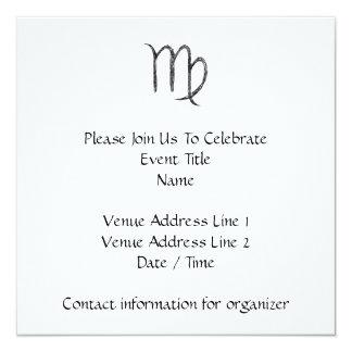 Virgo. Zodiac Astrology Sign. Black. Card