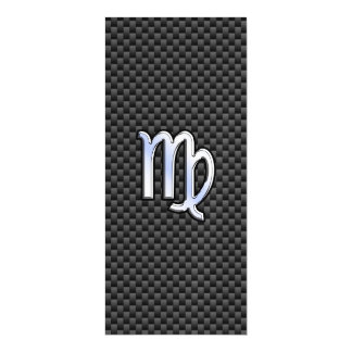 Virgo Zodiac on Charcoal Carbon Fiber Print Magnetic Card