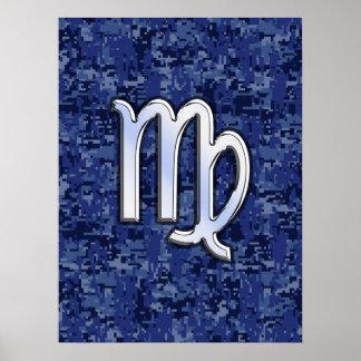 Virgo Zodiac Sign on Blue Digital Camouflage