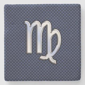 Virgo Zodiac Sign on Navy Blue Carbon Fiber Print Stone Coaster