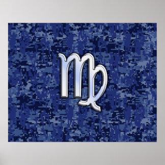 Virgo Zodiac Sign on Navy Blue Digital Camo