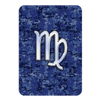 Virgo Zodiac Sign on Navy Blue Digital Camo Card