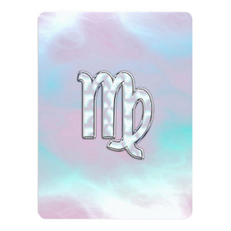 Virgo Zodiac Sign on Pastels Mother of Pearl Card