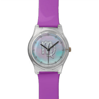 Virgo Zodiac Sign on Pastels Mother of Pearl Style Watch
