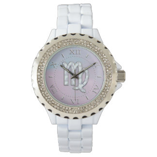 Virgo Zodiac Sign on Pastels Nacre Style Dial Watch
