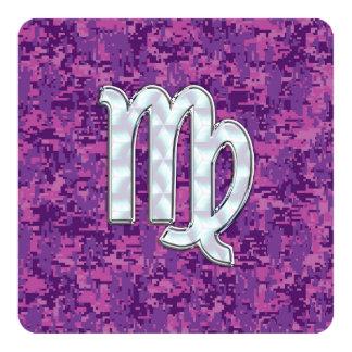 Virgo Zodiac Sign Pink Fuchsia Digital Camouflage Card