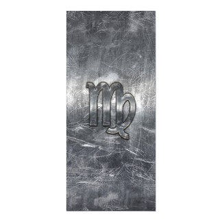 Virgo Zodiac Sign Silver Distressed Style Magnetic Card