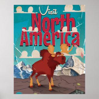 Visit North America Cartoon Vintage Poster