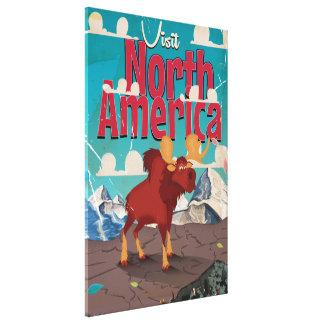 Visit North America Cartoon Vintage Poster Stretched Canvas Prints