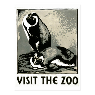 Visit the Zoo - WPA Poster - Postcard