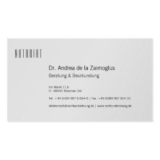 Visiting card silver for notary pack of standard business cards
