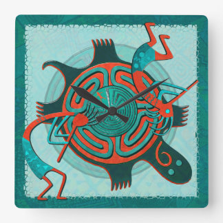 Visitors Anasazi Native Folk Art Square Wall Clock