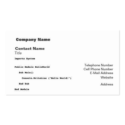 Visual Basic Hello World Greeting Business Card
