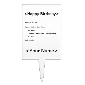 Visual Basic Hello World Greeting Cake Toppers