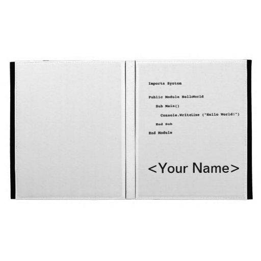 Visual Basic Hello World Greeting iPad Folio Covers