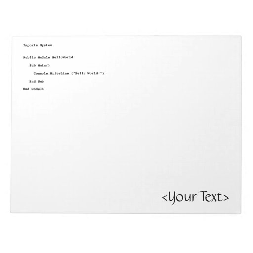 Visual Basic Hello World Greeting Notepads