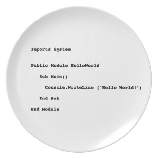 Visual Basic Hello World Greeting Party Plates