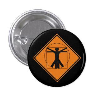vitruvian man road sign 3 cm round badge