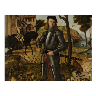 Vittore Carpaccio - Young Knight in a Landscape Postcard