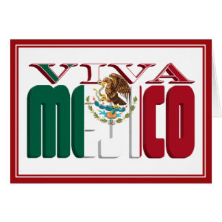VIVA MEJICO Mexican Flag Text Card