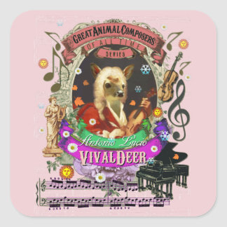 Vivaldeer Cute Deer Fawn Animal Composer Vivaldi Square Sticker