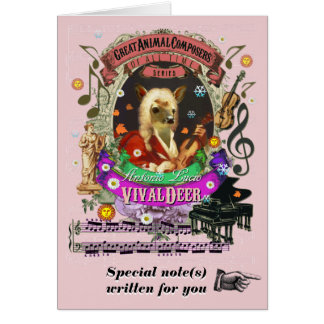 Vivaldi Parody Vivaldeer Cute Animal Composer Greeting Card