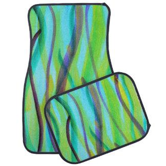 Vivid, abstract, watercolor grasses car mat