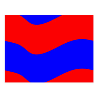 Vivid Bold Waves of Red and Blue Stripes Postcard