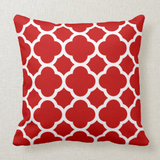 Vivid Cherry Red and White Quatrefoil Pattern Throw Pillow
