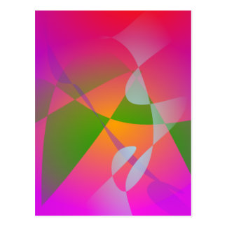 Vivid Color Digital Abstract Painting Postcard