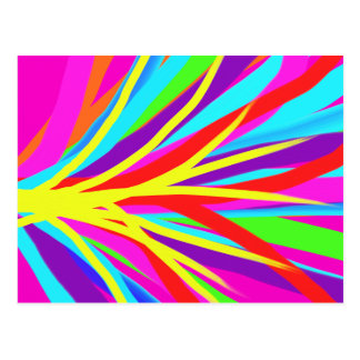 Vivid Colorful Paint Brush Strokes Girly Art Postcard