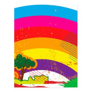 Vivid colourful rainbow landscape postcards