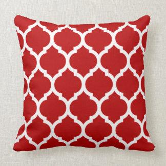 Vivid Dark Cherry Red Moroccan Quatrefoil Pattern Pillow