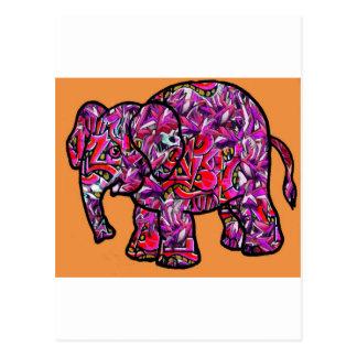 vivid funky graffiti elephant postcard