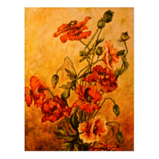 Vivid Late Victorian 1890 Oil Painting of Poppies Postcard