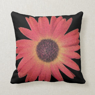 Vivid Orange and Yellow Gerbera Daisy in Abstract Throw Pillow