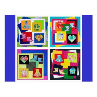 Vivid Origami Art Postcard