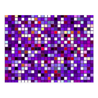 Vivid Purple Multicolored Square Tiles Pattern Postcard