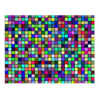 Vivid Rainbow Colours And Pastels Squares Pattern Postcard