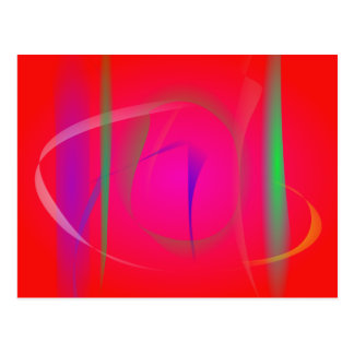 Vivid Red Abstract Bamboo Thicket Postcards