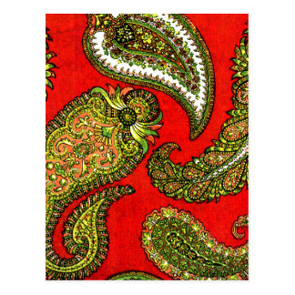 Vivid Red Indian Paisley Postcard