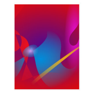 Vivid Red Simple Abstract Design Postcard