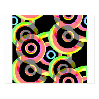 vivid retro circles rounds jpg post card