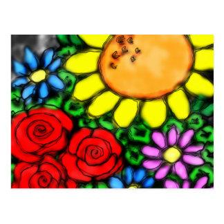 Vivid Sunflower & Roses Watercolor Garden Postcard