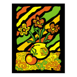 vivid vase with flowers postcard