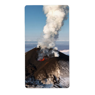 Volcanic eruption: lava, gas, steam, ashes shipping label