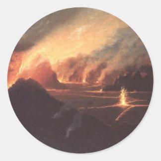 Volcano, ca. 1880s Hawaii Classic Round Sticker