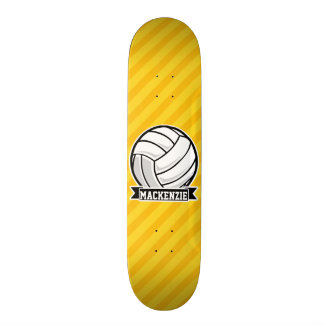 Volleyball on Yellow Stripes Skate Board