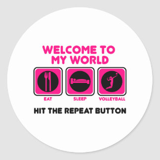 Volleyball Welcome to my world Round Stickers